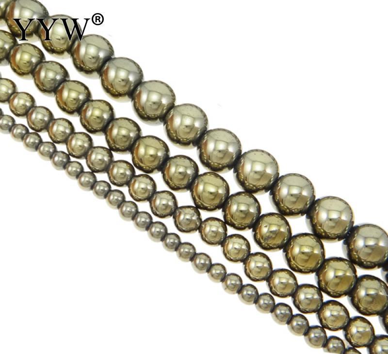 Pyrite Gemstone Round Beads For Bracelet Necklace Jewelry Beadwork Design 2-12mm
