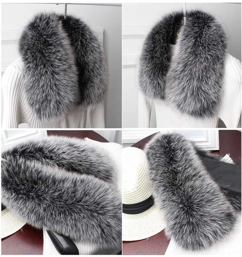 fox fur collar frosted black 2