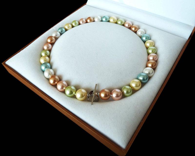 "Rare énorme 12 mm South Sea Bleu Turquoise Shell collier de perles 18/"""
