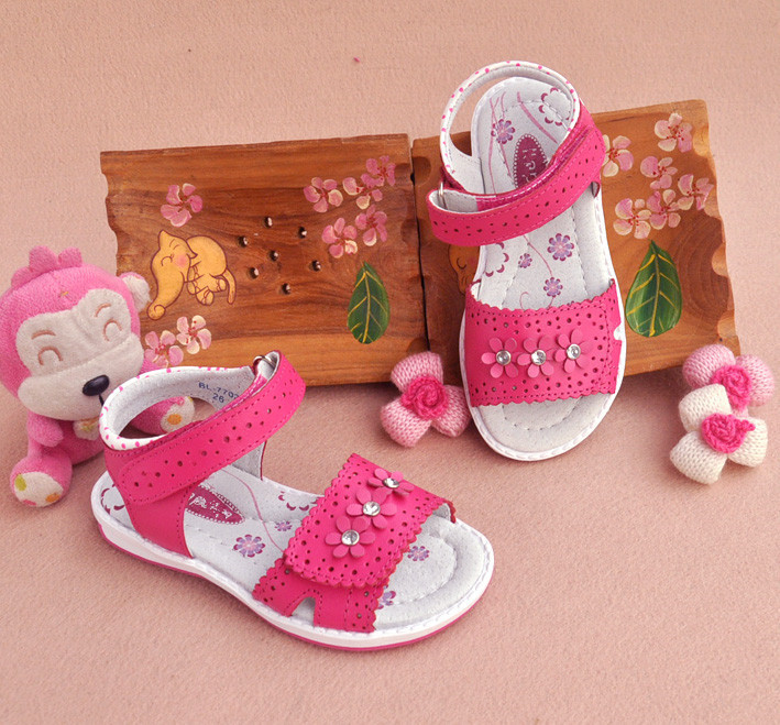 New Flower Genuine Leather Sandals Orthopedic Sandals Children Shoes+inner 13.3-20.6cm , Super Quality Kid Girl Sandals Y19062001