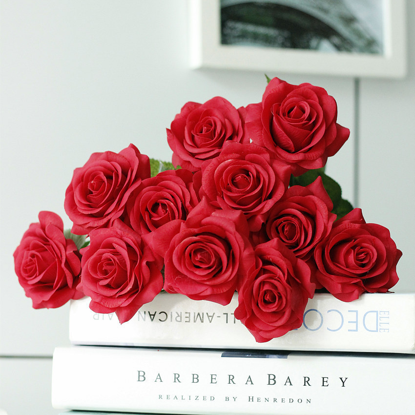 Rose Artificial Flower Bouquet wedding flowers silk peony home party decor (38)
