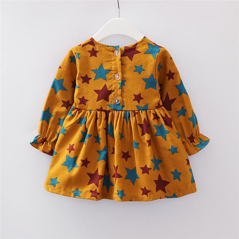 Girl Clothes Girls Dress Toddler Baby Girls Long Sleeve Star Printed Princess Dress+Cartoon Shoulder Bag Set girl costume D18 (12)