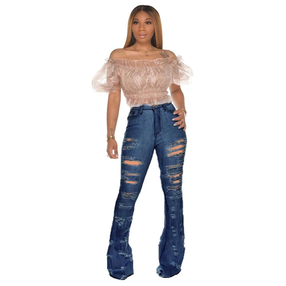 New Design fashion women Blue Color Jean Boot Cut Pants Casual Street Lady Long Denim Pants Sexy Club Wide Leg Jeans (17)