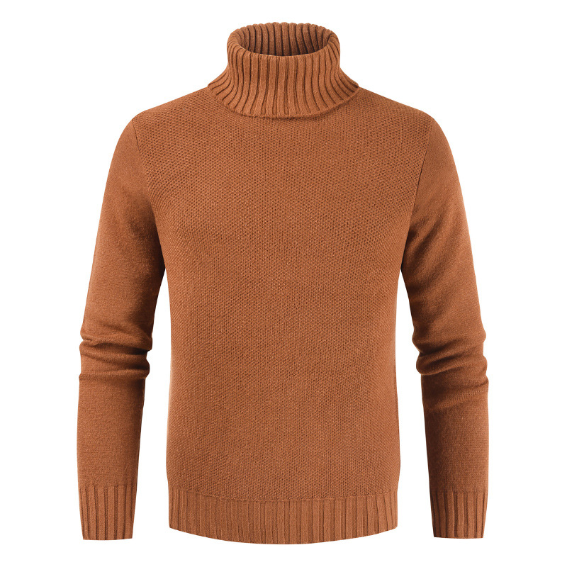 Men Bottoming Tops Fall Slim Sweaters Warm Autumn Turtleneck Sweaters Black Pullovers Clothing For Man Cotton Knitted Sweater Male Sweaters