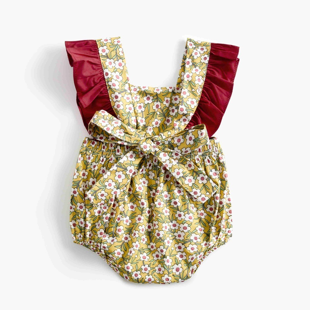 Baby Bodysuit Summer Little Flowers Newborn Clothes Ruffle Cotton Outfit Jumpsuits Kids Girls Clothes Infant Toddler 0-3 Years J190524