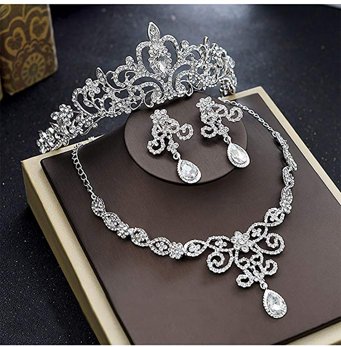 Silver Rhinestone Crystal Necklace Earrings & Crown Set Wedding Jewelry Sets Bridal Necklace Tiara (4)