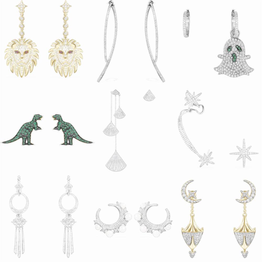 Wholesale 925 Sterling Silver Jewelry soustraire de ligne avec Zircon Femme Boucles d/'oreilles EB182