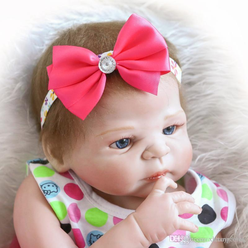 "23/"" Lifelike Full Body Silicone Girl Baby Doll Newborn Preemie Dolls Babies"