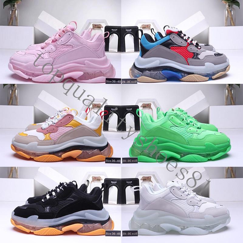 2020 Mode Cristal Bas Paris 17FW Triple S Mens Designer Sneakers Vintage papa Plate forme Femmes luxe Chaussures Casual Bottes de sport Formateurs