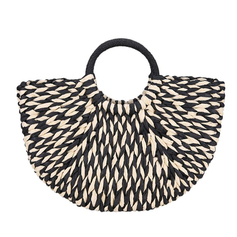Big Travel Vacation Totes Bamboo Handbag Women Handbag Handmade Woven Straw Beach Bag Summer Purse