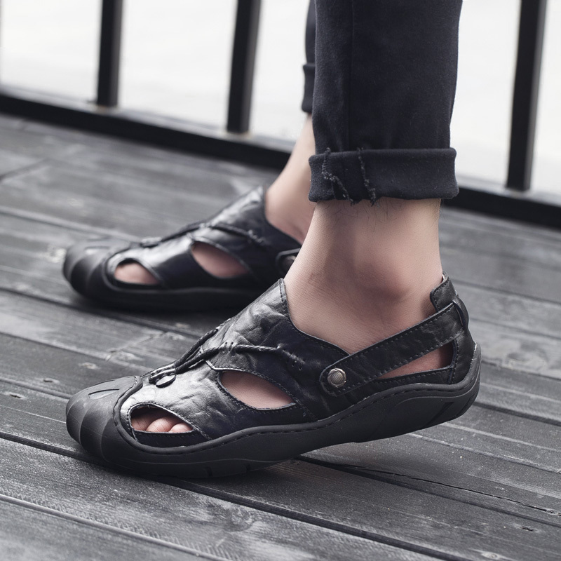 Mens Sandals Leather Beach Sandals Brand Men Casual Shoes Genuine Split Leather Sneakers Men Slippers Flip Flops Summer Shoes MX190720