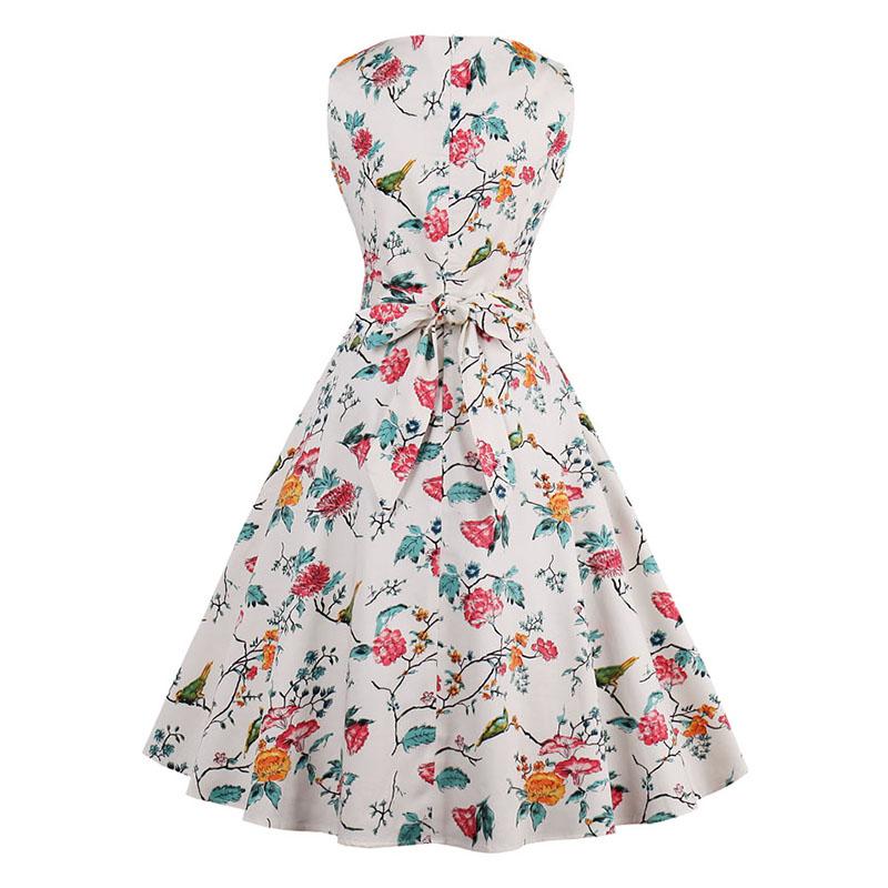 Kostlish 9 Style Print Summer Dress Women 2017 Sleeveless Swing 1950s Hepburn Vintage Tunic Dress Elegant Party Dresses Sundress (18)