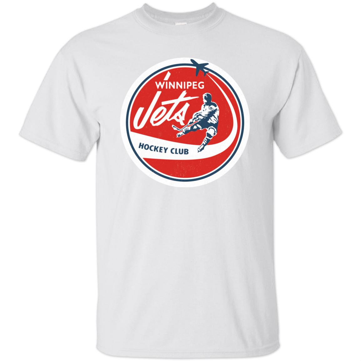 Jetleri WHA Hokey Retro Forması Logosu Gerileme Winnipeg Manitoba 1970'lerin T Gömlek