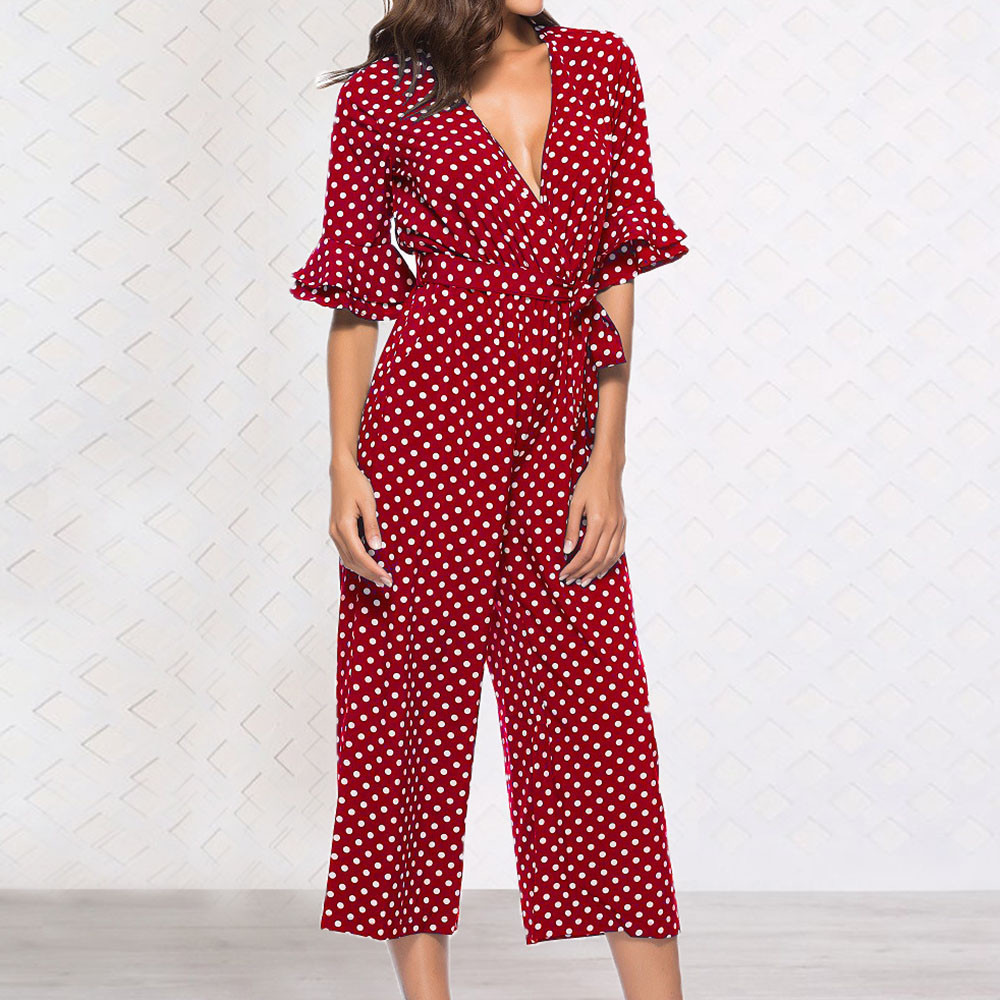 Black Sexy Polka Dot Printed V-neck Wide Leg Pants Long Bodycon Jumpsuit Romper Long Sleeve Bodysuit Length Polyester 2019 MX190726