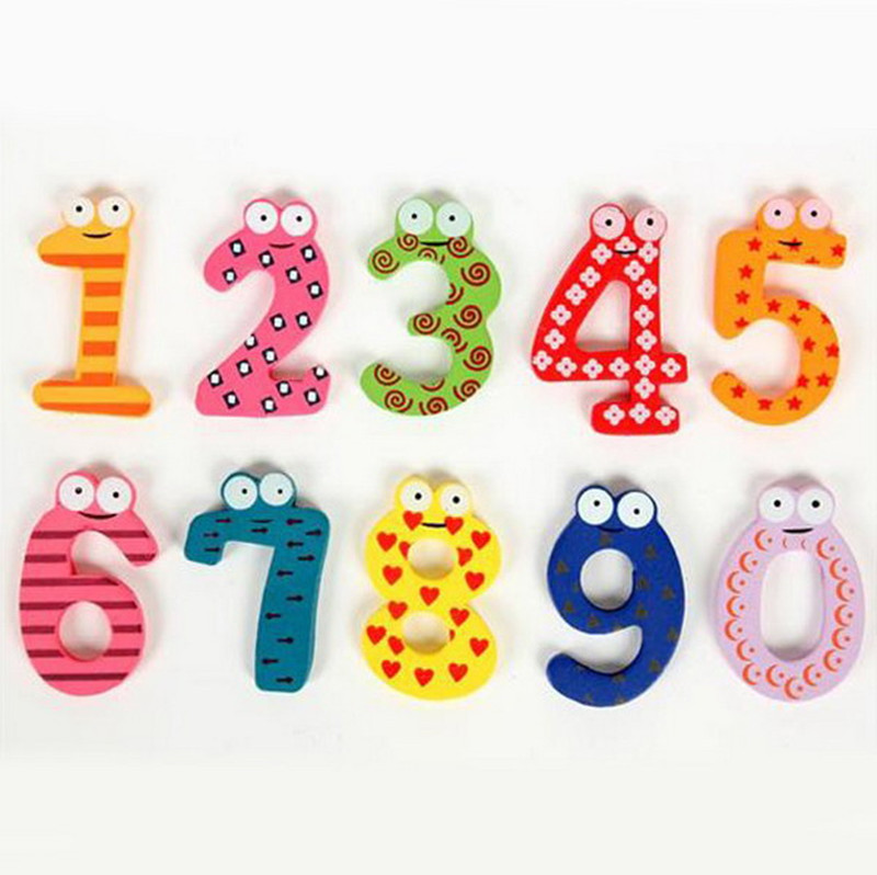 Number 0-9 Wooden Fridge Magnet Kids Math Toys Cartoon Animal Numbers Educational Number Learning Toys For Baby Gift