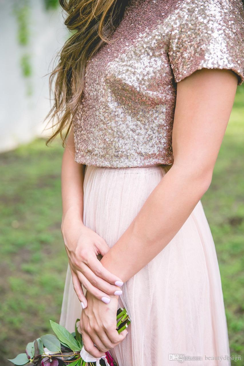 2018 Two Pieces Bridesmaid Dresses Floor Length Rose Gold Sequined Sparkly Short sleeves Formal Maid of Honor Party Gowns Dresses