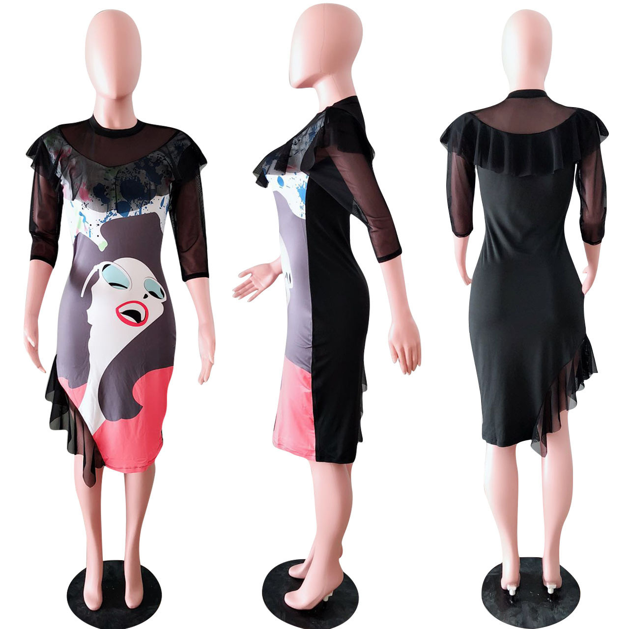 Y8028 2018 Slim Sexy Nightclub Interest Printing Net Yarn Dress