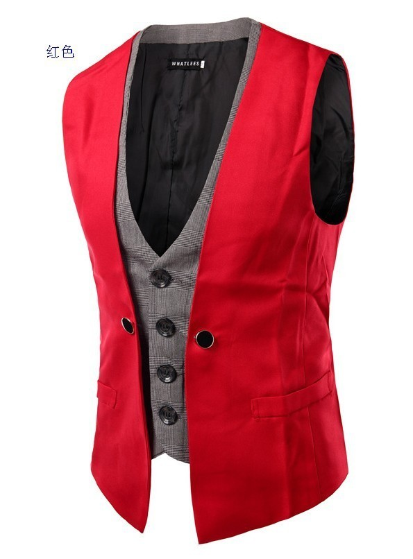 Crazy2019 Product And Personality Lattice Split Joint False Two Paper Single Row Buckle Cool Time Five Color Man Vest