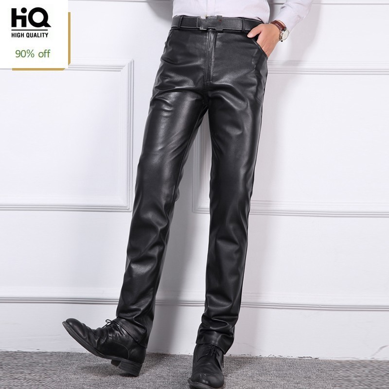 RED SHORTS Clubwear Genuine Soft Cow Leather MENS REAL LEATHER BLACK