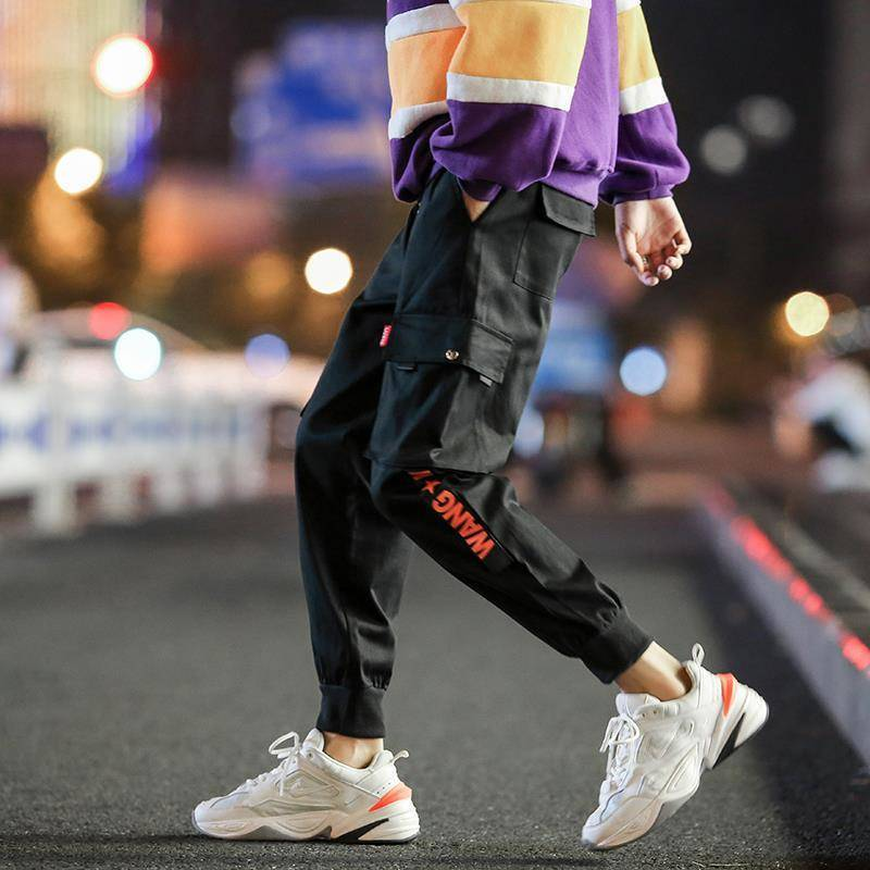 2019 Men Multi-pocket Elastic Waist Design Harem Pant Street Punk Hip Hop Red Casual Trousers Joggers Male Army Cargo Pants Xxxl Y19073001