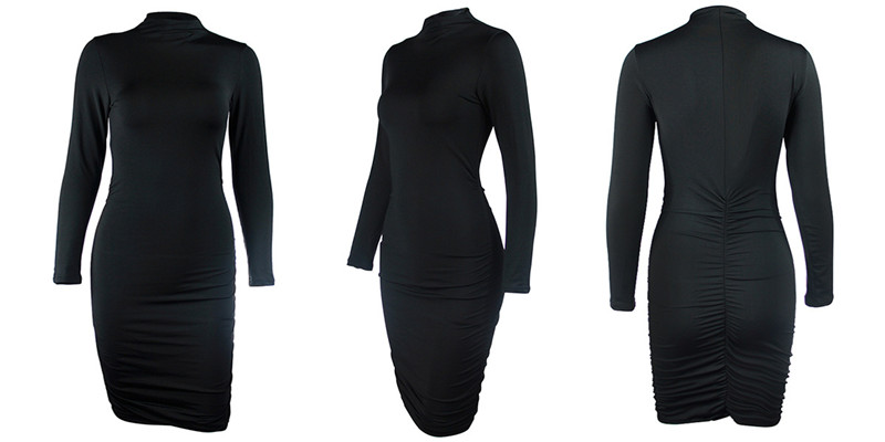 turtleneck ruched dress04