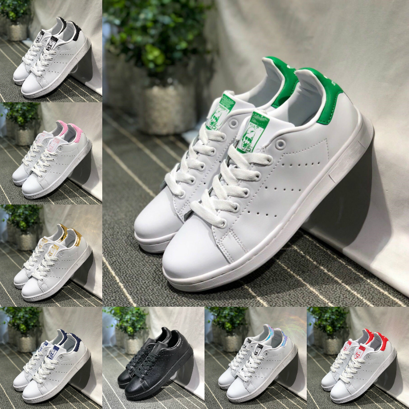 2019 adidas Stan Smith Shoes New adidas superstar Shoes pas cher Femmes Hommes Cuir Casual Superstars Skateboard Punching Blanc Noir Vert Bleu