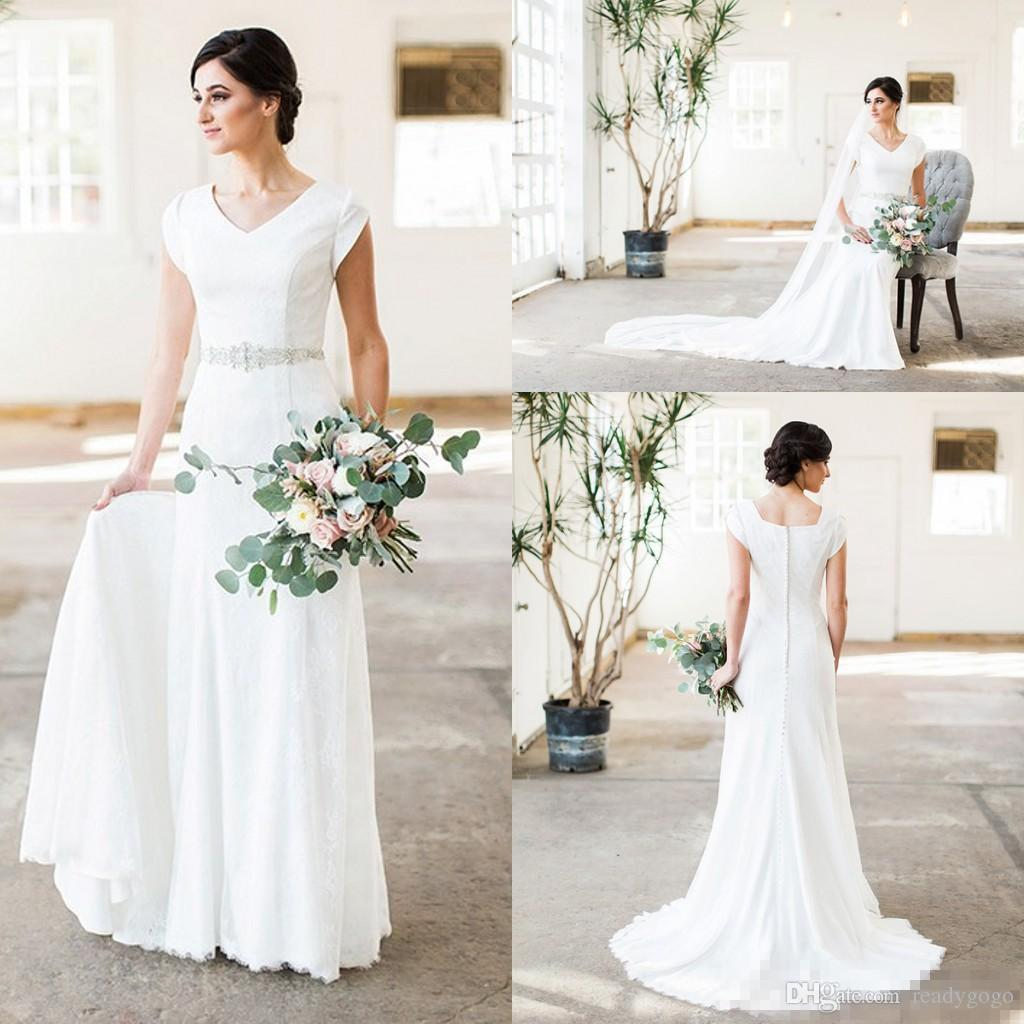Discount Vintage Simple Lace Mermaid Modest Wedding Dresses With Cap Sleeves V Neck Crystal Belt Women Religious Bridal Gowns Custom Made Cheap Plus