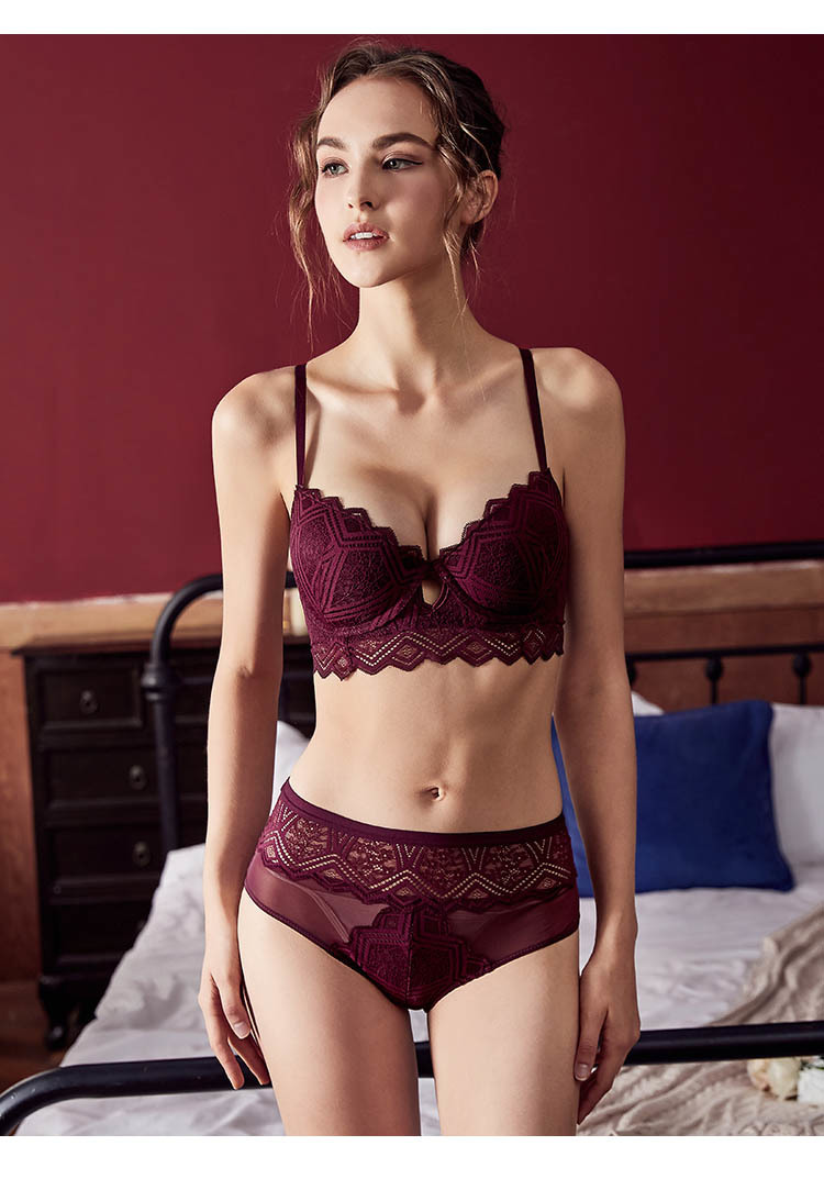 CINOON New Top Sexy Underwear Set Push-up Bra And Panty Sets Hollow Brassiere Gather Sexy Bra Embroidery Lace Lingerie Set (2)