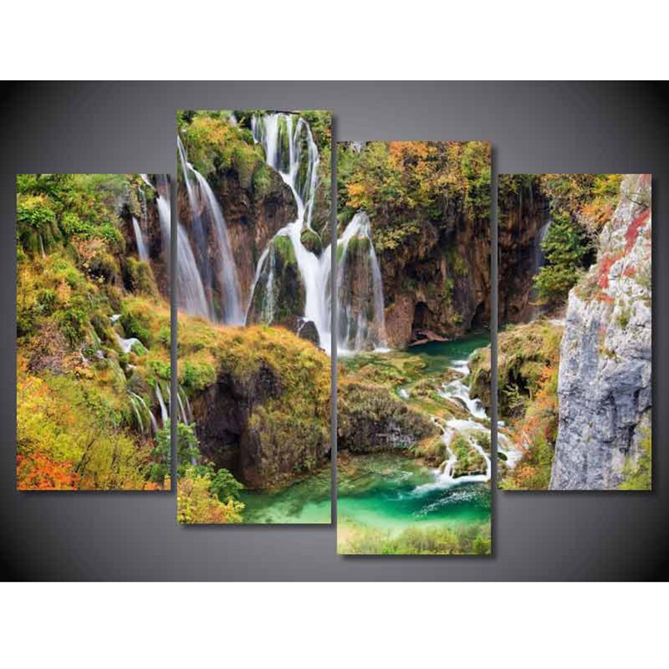 Painting Frame Art Poster Wall Modular Picture 4 Panel Scenery Waterfall Lagoon Home Decoration Print On Canvas For Living Room