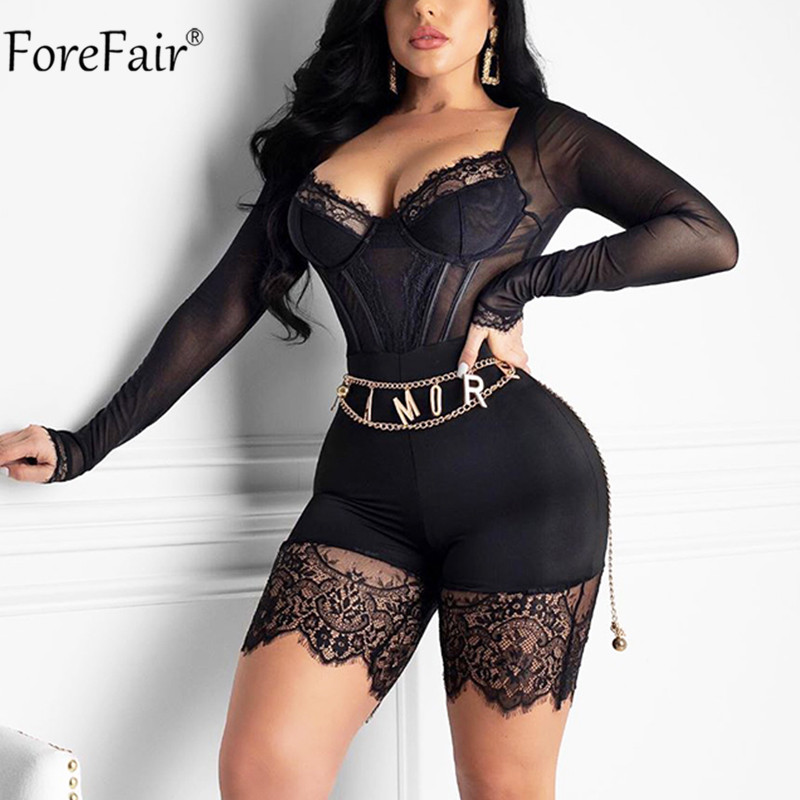 Women Strappy Mesh Lace Bodysuit Transparent Slim Jumpsuits for Women One Piece Hot Plunge Bodysuitsping