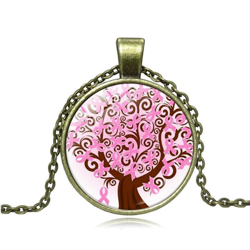 Breast Cancer Awareness cabochon verre Tibet Argent Chaîne Collier Pendentif #CA66