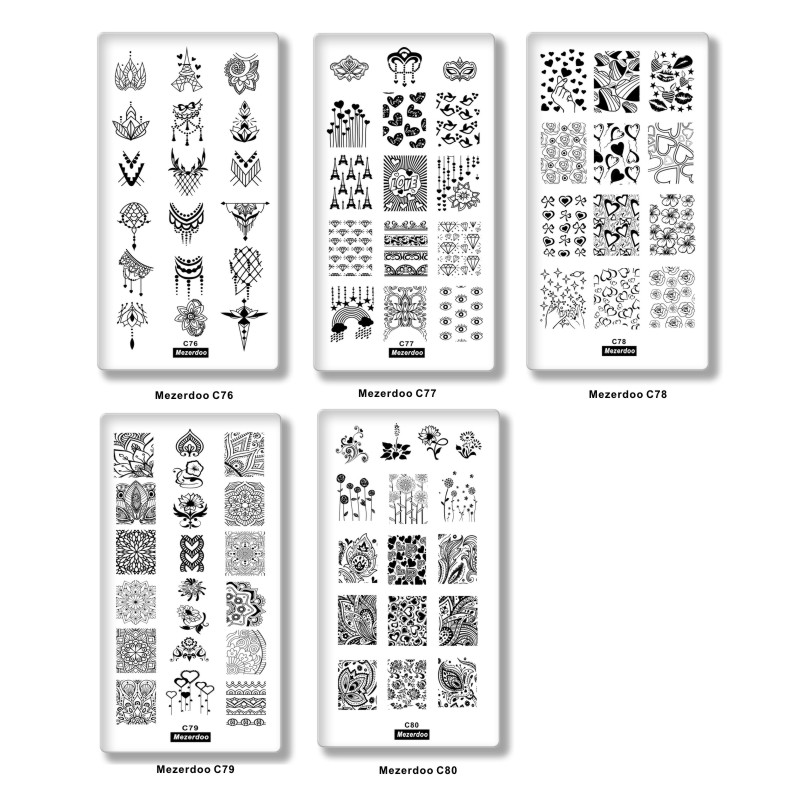 Nail Stamping Plates Set Valentine's Day Love Kiss Dandelion Flower Rectangle Nail Art Template DIY Image Nail Decoration