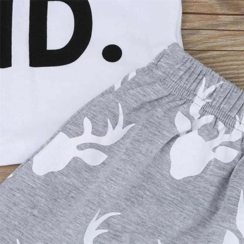 2PCS Baby Boy Sets Toddler Kids Baby Boy Short Sleeve Letter Print T-shirt+Deer Print Long Pants Set Baby Boy Clothes M8Y16 (6)