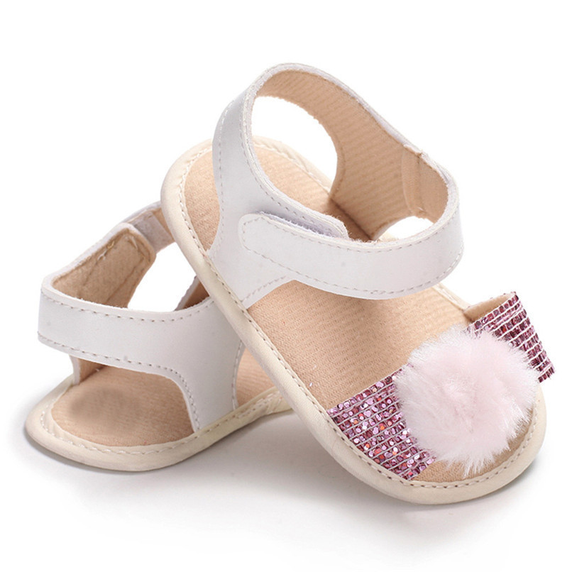 3 Color Summer Baby Girl Shoes Newborn Toddler Baby Girl Soft Ball Sequins Sandals Soft Sole Anti-slip Shoes Girl Sandals JE14#F (10)