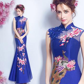 chinese style wedding traditional elegant cheongsam dress lace red blue white qipao long dragon and phoenix long mermaid