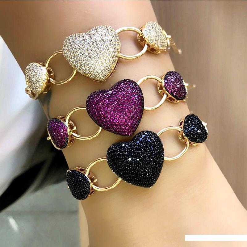 Fashion 18K cristal plaqué or rose pavée Charme Amour Coeur réglable bracelet