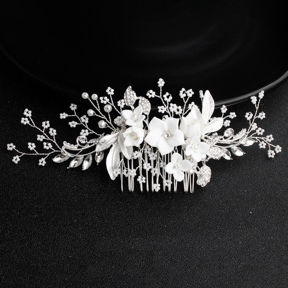 White-Flower-Silver-Leaf-Rhinestone-Hair-Combs-Wedding-Hair-Accessories-Bridal-Women-Pearl-Hair-Ornament-Head