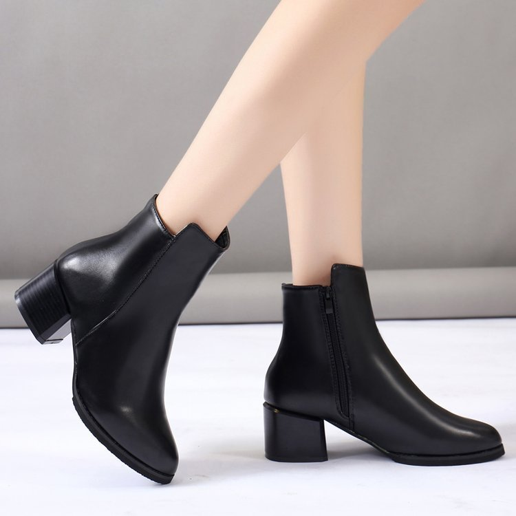 New Arrival Winter Women Boots High Heels Black Boots Woman Ankle Boots Zipper Booties designer shoes botas mujer hjm89