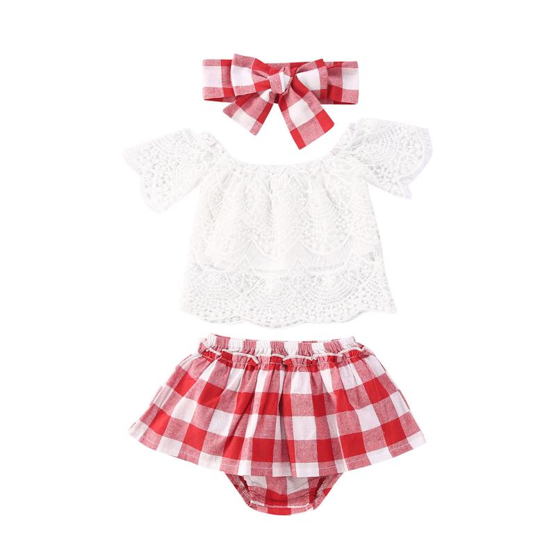 Newborn Infant Girls Summer Clothes Outfits 3-24 Months Sleeveless Plaid Print Vest Tank Tops and Skirt Sets