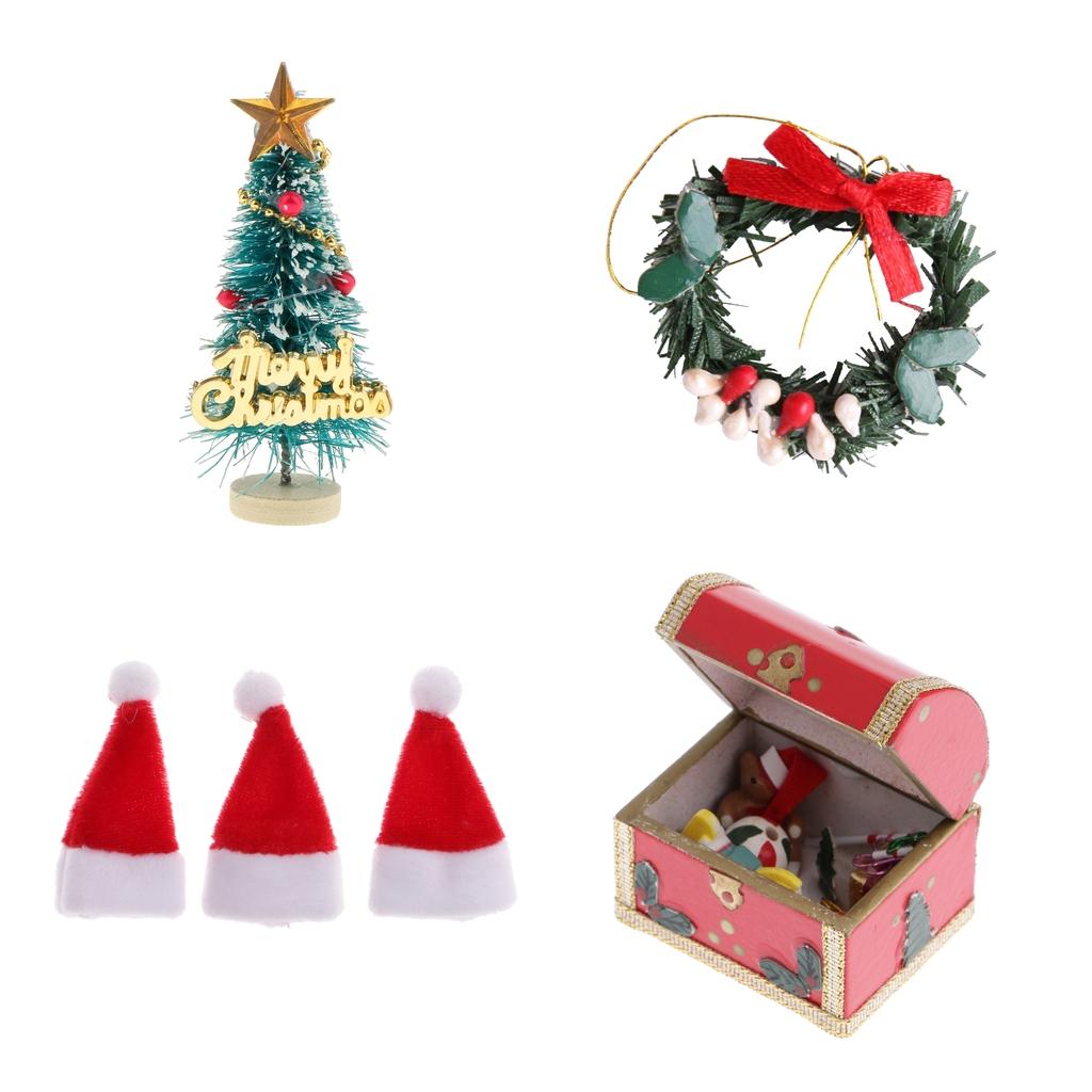 Christmas Dollhouse Miniatures.1 12 Christmas Tree Santa Claus Decoration Set Dollhouse