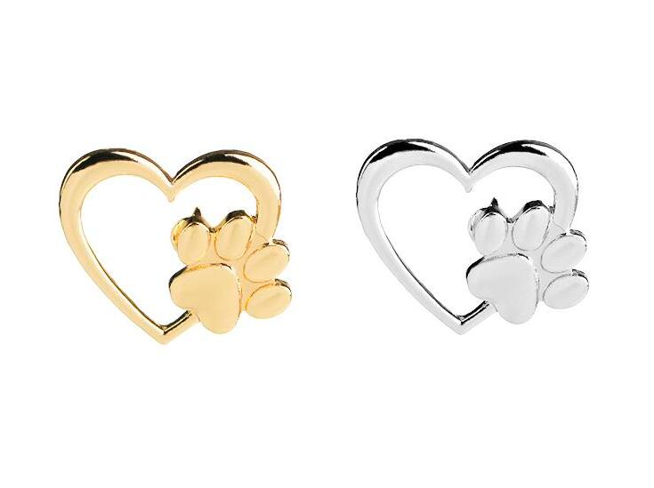 2019 New fashion Silver Gold Color Love Heart Paw Lapel Pin Pet Paw Print Pet Loss and Pet Memorial Pins Jewelry Dog Cat Lover Gifts