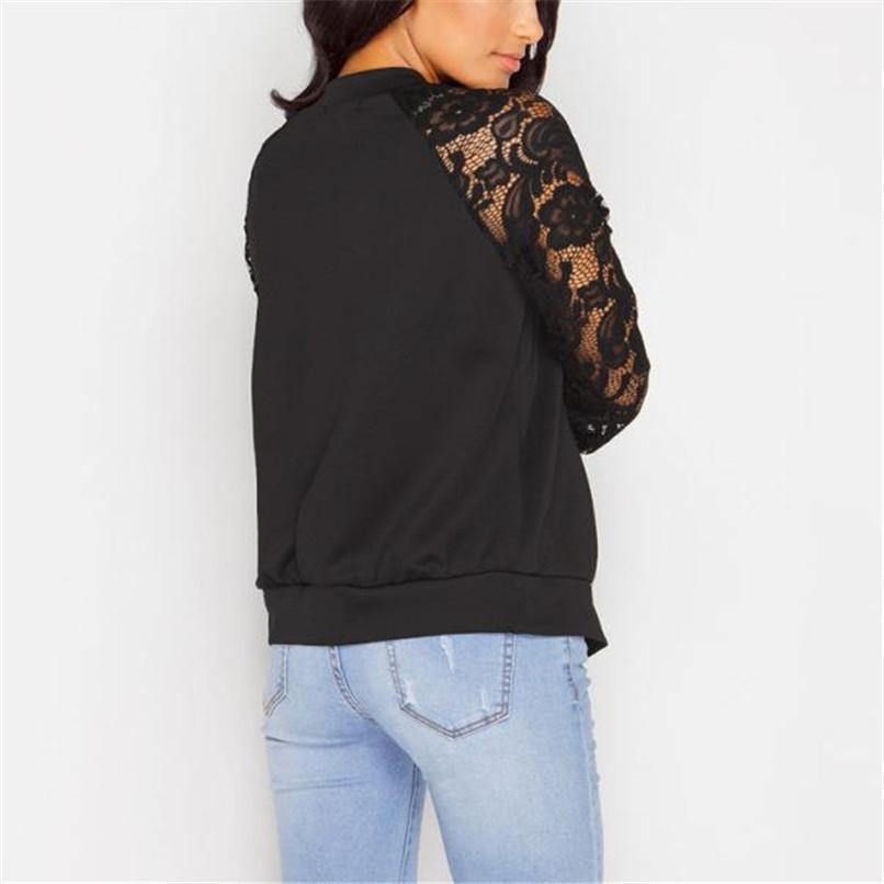 Lace Sleeve Women Basic Coats Long Sleeve Lace Patchwork Transparent Zipper Casual Slim Jacket Coat Bomber Jacket Outwear 40OC3110
