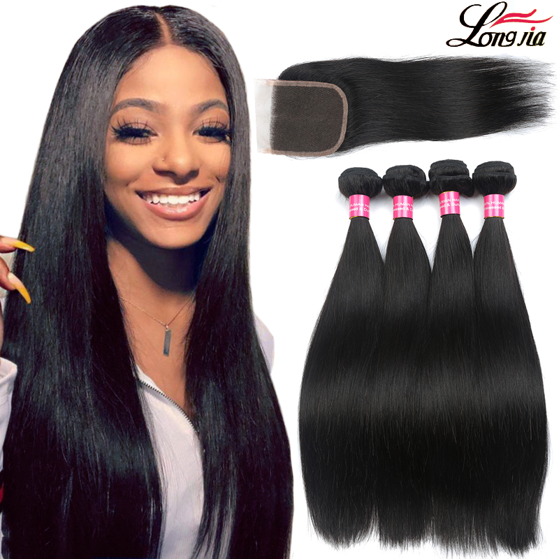 9A Straight Hair bundles With Closure Brazilian Virgin Human Hair With Closure 4x4 Lace Closure With Brazilian Hair Weave Bundles