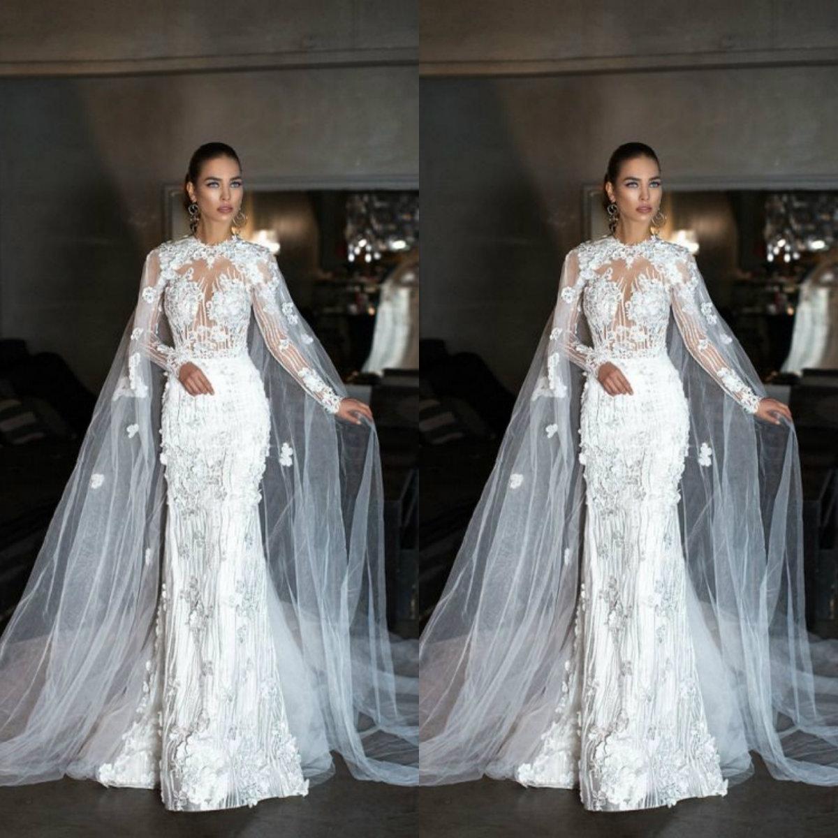 Exclusive Design Wedding Wrap 2019 Tulle Cloak Lace Ladies Bridal Cape Sleeveless Bridal Shawl Customized Wedding Jackets Free Shipping