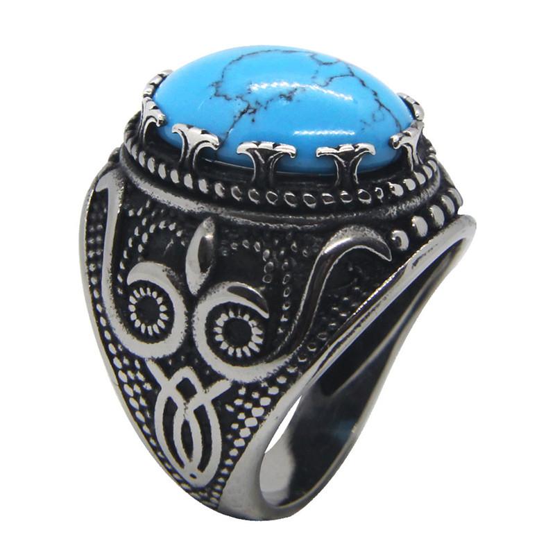 Para Hombre 316L Anillo De Banda De Acero Inoxidable Sólido anillo de piedra oval de Ojo de Tigre Talla 7-13