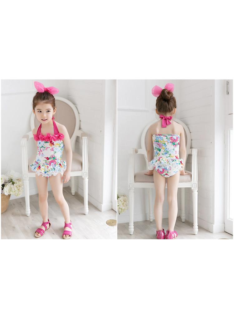2pcs Baby Girls Swimwear Kids Swimming Bikinis Siamese skirt type swimsuit one piece lace sweet Bathing Suit Swimsuit with Cap (2)