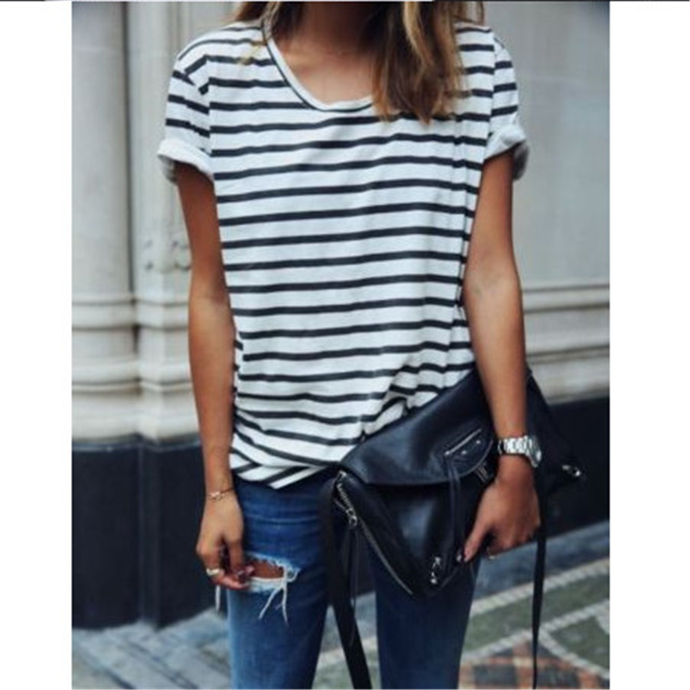 Womens T Shirts Popular Summer Tops Black White Striped 2019 New Comfy Casual O Neck Casual Women Loose Brand Women Tshirts