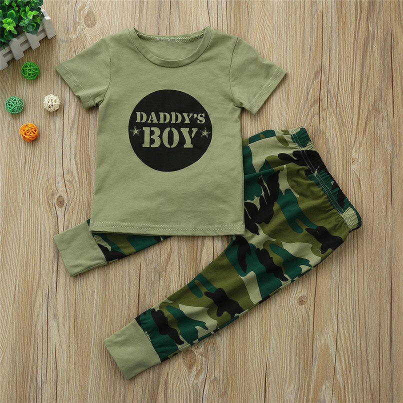 2PCS Baby Boys Sets Newborn Toddler Baby Boys Short sleeve Letter T-Shirt Tops+Camouflage Pants Set Baby Boys Clothes M8Y16 (2)