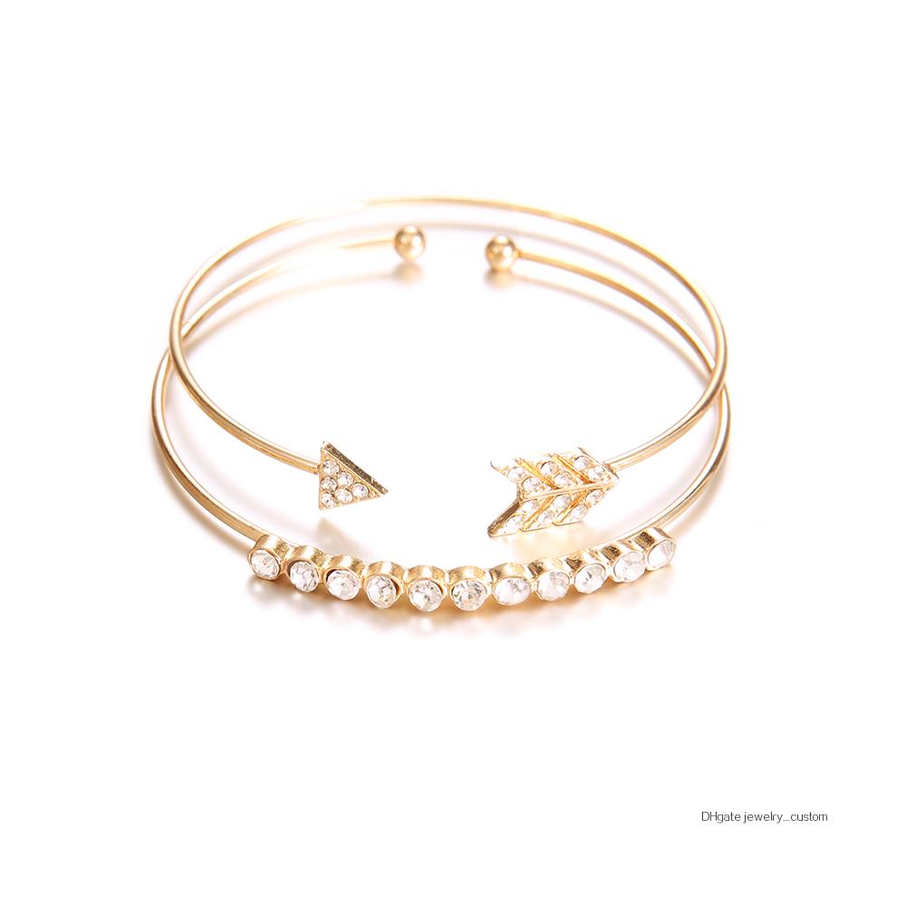 2-unids-set-pulsera-brazalete-Vintage-brazaletes-para-las-mujeres-de-Color-oro-abierto-flecha-anudada (4)