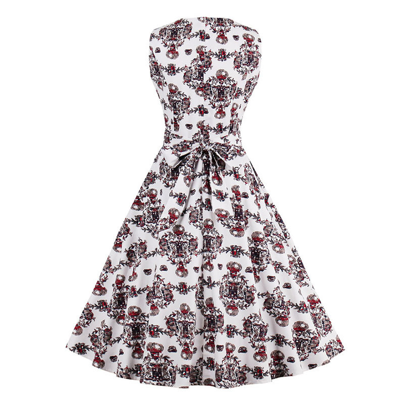 Kostlish 9 Style Print Summer Dress Women 2017 Sleeveless Swing 1950s Hepburn Vintage Tunic Dress Elegant Party Dresses Sundress (21)